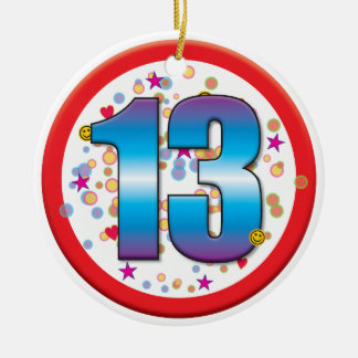 décimotercero Cumpleaños v2 Adorno Navideño Redondo De Cerámica