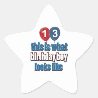 décimotercero diseños años del cumpleaños calcomanías forma de estrella