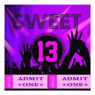 décimotercero Dulce diversión de 13 de cumpleaños Invitacion Personalizada