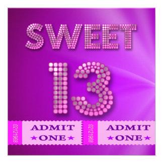 décimotercero Dulce diversión de 13 de cumpleaños Invitación Personalizada