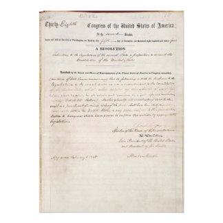 décimotercero Enmienda de la constitución de Estad Comunicado Personal
