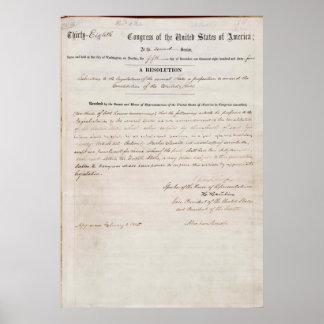 décimotercero Enmienda de la constitución de Estad Impresiones