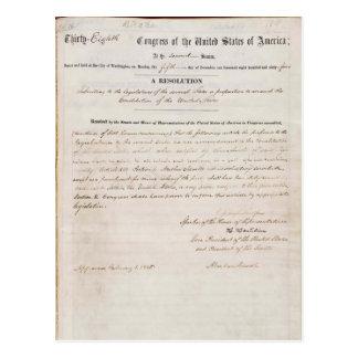 décimotercero Enmienda de la constitución de Estad Postales