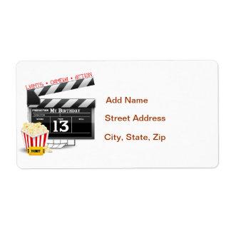 décimotercero Fiesta de la película del cumpleaños Etiquetas De Envío