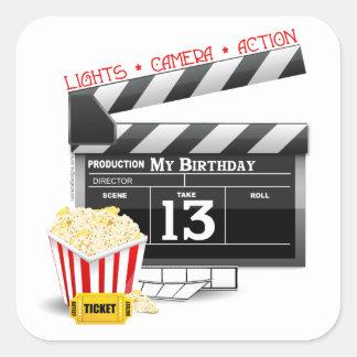 décimotercero Fiesta de la película del cumpleaños Pegatina Cuadrada