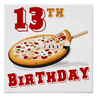décimotercero Fiesta de la pizza del cumpleaños Póster