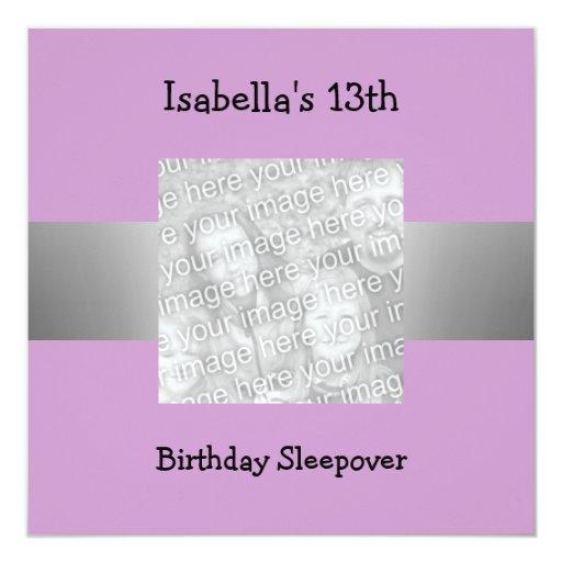 décimotercero Foto de la púrpura de la plata del Invitación 13,3 Cm X 13,3cm