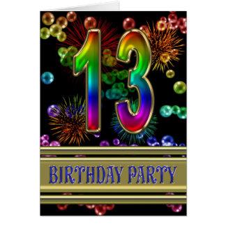 décimotercero Invitación de la fiesta de cumpleaño Tarjeta