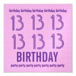 décimotercero Lunares rosados Y290C del cumpleaños Invitaciones Personales