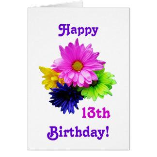 décimotercero Margaritas del neón del cumpleaños Tarjeta De Felicitación