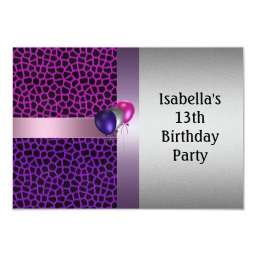 décimotercero Modelo y globos negros rosados Invitación 8,9 X 12,7 Cm