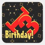décimotercero Negro rojo del cumpleaños y confeti Pegatinas Cuadradas