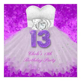 """décimotercero Púrpura adolescente de las chicas Invitación 5.25"""" X 5.25"""""""