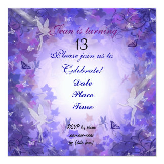 décimotercero Púrpura de hadas de la invitación de
