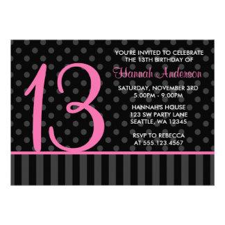 décimotercero Rayas rosadas y negras del cumpleaño