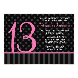 """décimotercero Rayas rosadas y negras del Invitación 5"""" X 7"""""""