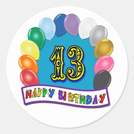 décimotercero Regalos de cumpleaños con diseño cla Pegatinas Redondas