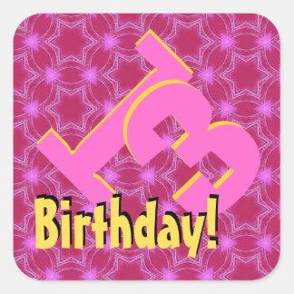 décimotercero Rosa del cumpleaños y estrellas V01D Pegatina Cuadrada