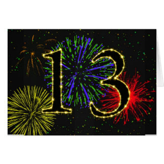 décimotercero Tarjeta de cumpleaños con los fuegos