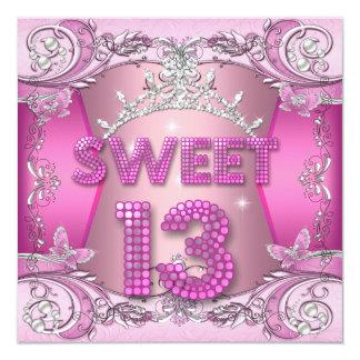 """Décimotercero tiara de la plata del rosa de la invitación 5.25"""" x 5.25"""""""