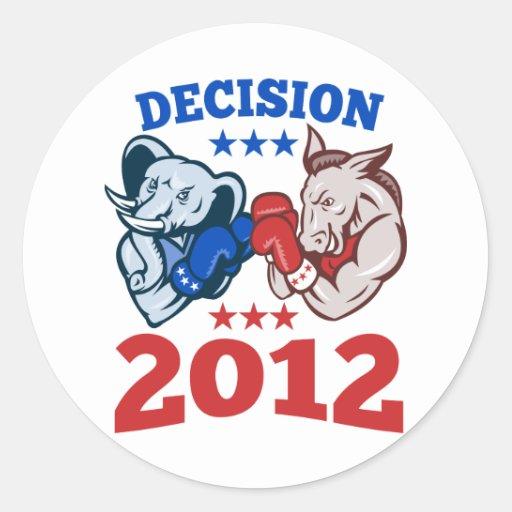 Decisión republicana 2012 del elefante del burro pegatina redonda