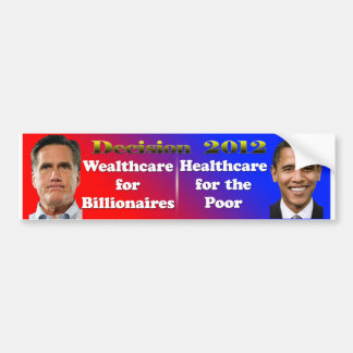 Decisión Romney 2012 Wealthcare, atención sanitari Pegatina Para Auto