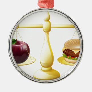 Decisión sana de las escalas de la consumición adorno redondo plateado