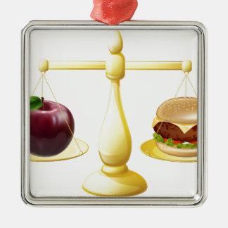 Decisión sana de las escalas de la consumición adorno cuadrado plateado