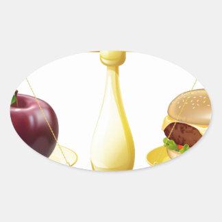 Decisión sana de las escalas de la consumición pegatina ovalada