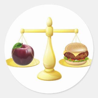 Decisión sana de las escalas de la consumición pegatina redonda