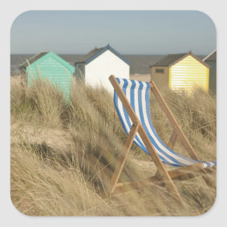 Deck Chair And Beach Huts | Southwold, Suffolk Square Sticker