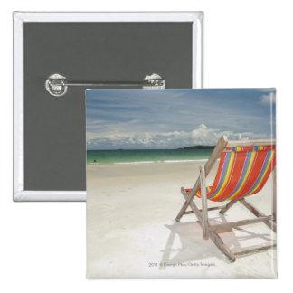 Deck Chair On The White Sand Of Samui Beach Button