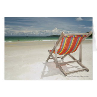 Deck Chair On The White Sand Of Samui Beach Card