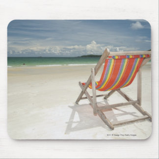 Deck Chair On The White Sand Of Samui Beach Mouse Pad