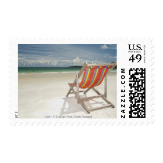 Deck Chair On The White Sand Of Samui Beach Stamp