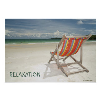 Deck Chair On The White Sand Of Samui Beach Poster