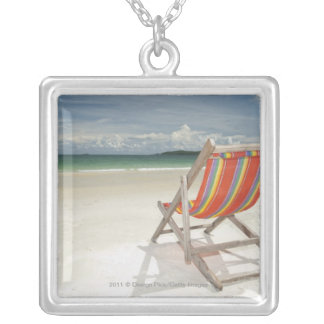 Deck Chair On The White Sand Of Samui Beach Silver Plated Necklace
