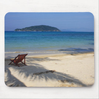 Deck Chair on Tropical Desert Island Mouse Pad