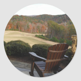 Deck Chair overlooking Golf Course Classic Round Sticker