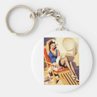 Deck Chair Sailor Pin Up Girl Basic Round Button Keychain