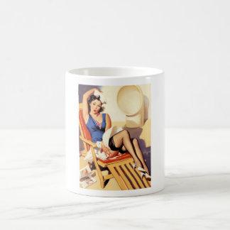 Deck Chair Sailor Pin Up Girl Classic White Coffee Mug