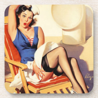 Deck Chair Sailor Pin Up Girl Coaster