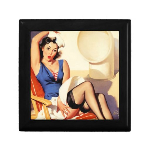 Deck Chair Sailor Pin Up Girl Jewelry Box