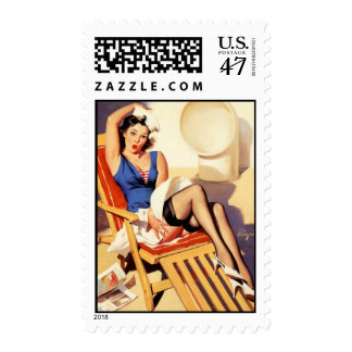 Deck Chair Sailor Pin Up Girl Postage Stamp