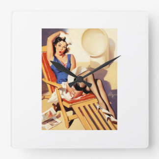 Deck Chair Sailor Pin Up Girl Square Wall Clock