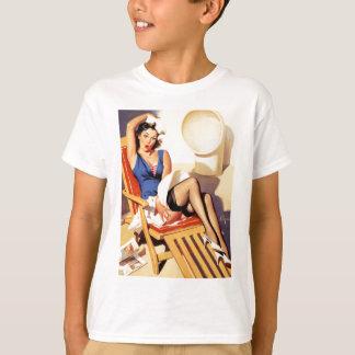 Deck Chair Sailor Pin Up Girl T-Shirt