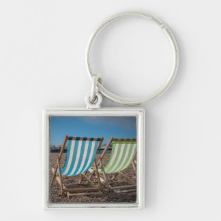 Deck Chairs Looking At The Sea Keychain