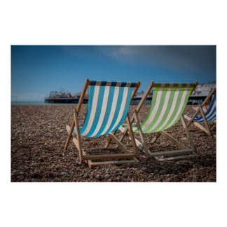Deck Chairs Looking At The Sea Poster