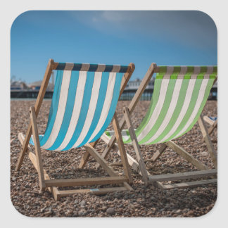 Deck Chairs Looking At The Sea Square Sticker