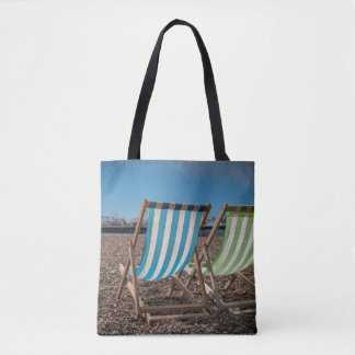 Deck Chairs Looking At The Sea Tote Bag